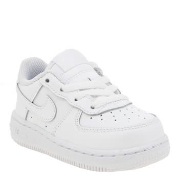 Nike White Air Force 1 Unisex Toddler Toddlers can now own a piece of trainer history as the Air Force 1 arrives in tiny sizes. The original Air unit basketball shoe is dressed in white leather with overlaid Swoosh branding and perforated http://www.MightGet.com/january-2017-13/nike-white-air-force-1-unisex-toddler.asp