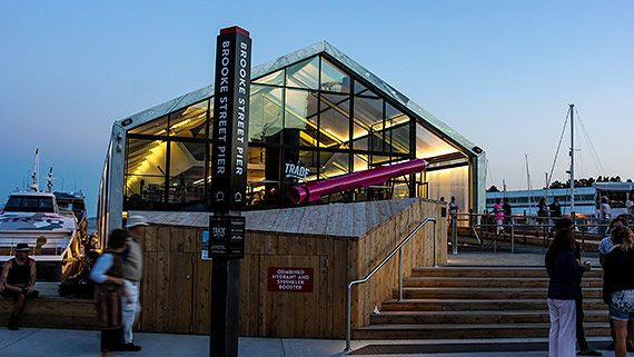 Hobart's new wharf at Brook Street Pier. You must book The Glasshouse Restaurant?