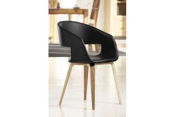 Krzesło NOVA czarne, skóra ekologiczna, drewno olejowane 22144-1 - Sklep internetowy - styl i nowoczesność.