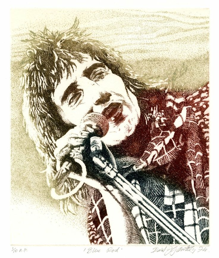 Blue Rod (Rod Stewart) by David Oxtoby (1974) #portrait