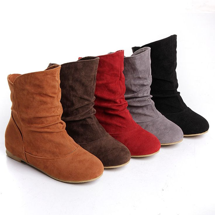 ladys stylish faux suede pull on flat heels slouch ankle round toe comfy boots #unbranded #FashionAnkle
