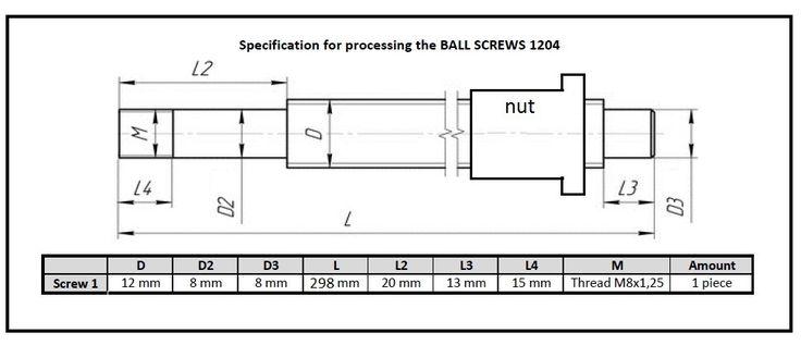 1pc SFU1204 -  298mm ballscrew + 1pc Ballnut  process according to the drawing