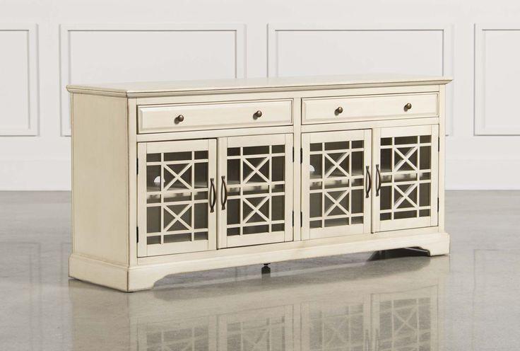 "Annabelle Cream 70 Inch Media Console#livingspaces Dimensions: 70""W x 19""D x 32""H"