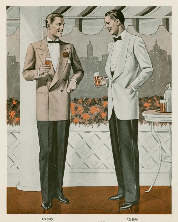 city silhouette, formal dress 1942  [NYPL]