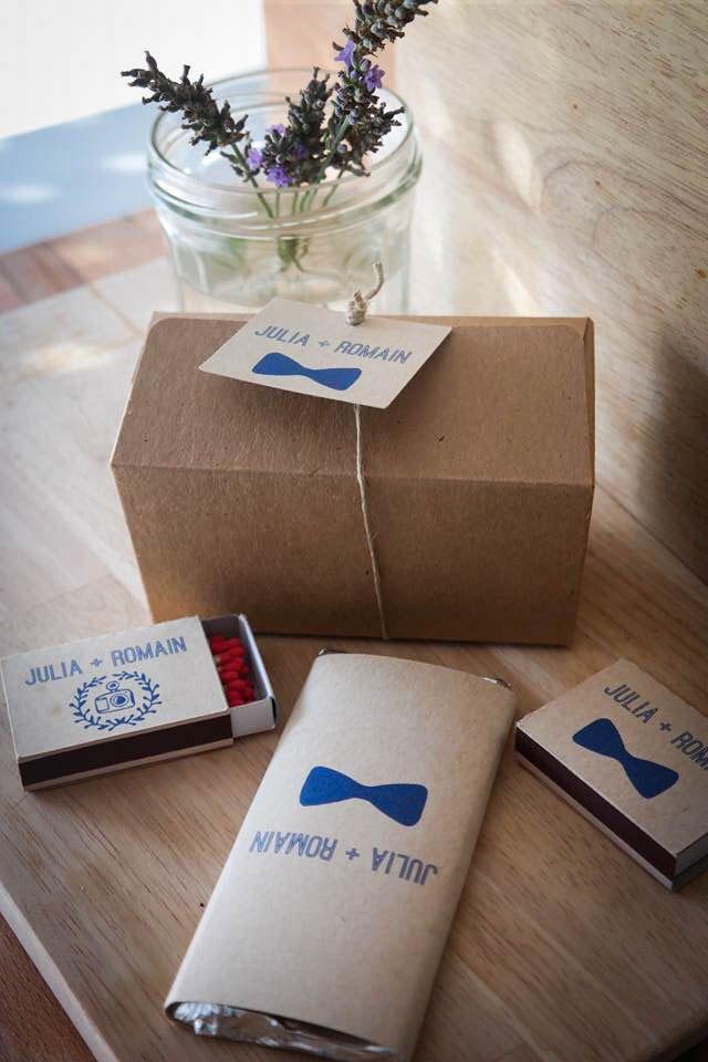 cadeaux invits mariage 1 petites bote kraft 1 mini tablette de chocolat 2 - Boite D Allumette Personnalis Mariage