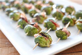 Proscuitto sandwiched between grilled brussels sprouts Party Frosting: appetizers