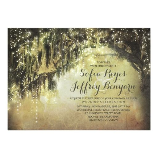 string lights rustic tree vintage wedding invites - Spanish moss oak tree rustic country southern wedding invitation