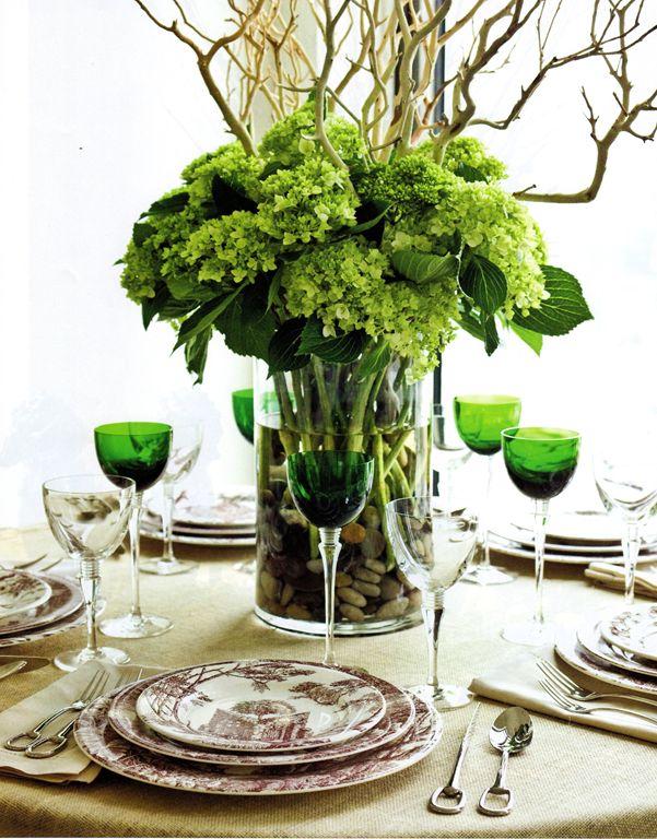 flowers: Centerpiece, Tables Sets, Green Hydrangeas, Floral Arrangements, Wine Glasses, Centers Piece, Branches, Christmas Decoration Idea,  Flowerpot