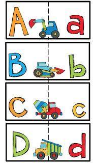 Construction Vehicles Alphabet Match