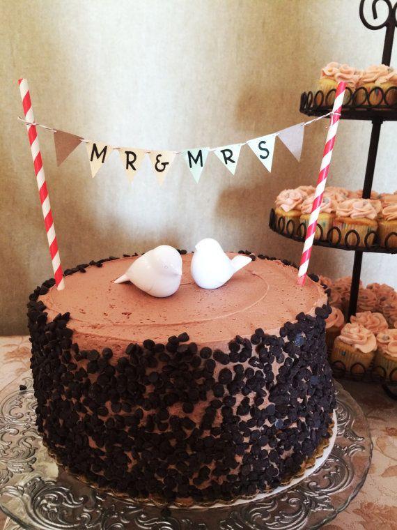 Mr. & Mrs. Cake Topper // Wedding Banner Cake Topper