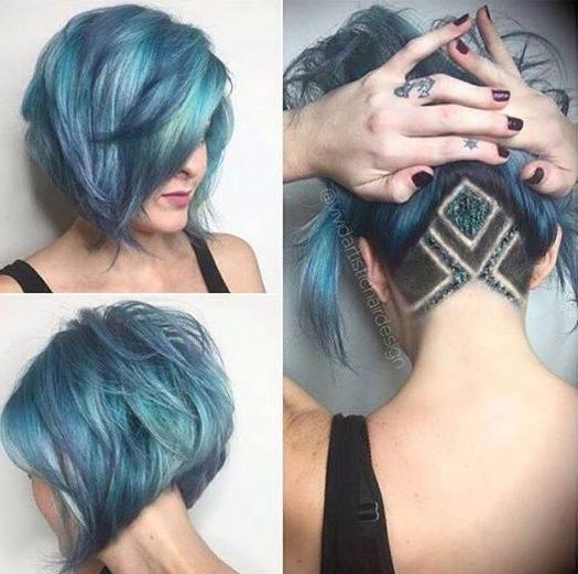 Not really a fan of the undercut with glitter, but I love the hair color.