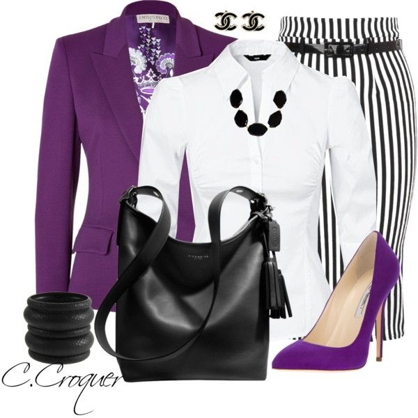 The pinstripe skirt looks cute, never owned one.  Love the purple jacket and shirt.  Not a fan of the jewelry - too bulky.