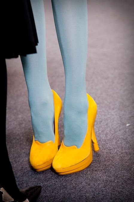 Yellow pumps from Cacharel, Paris fashion week.