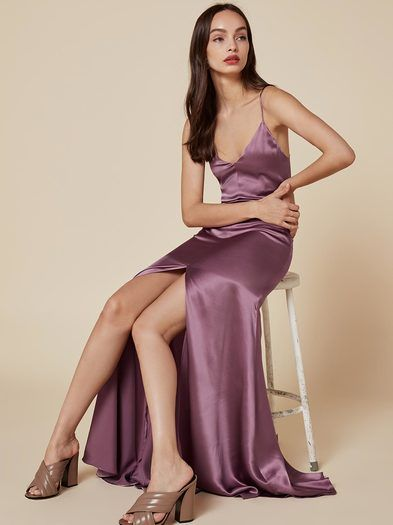 Oh, this old thing? This is a floor length, slip dress with a v neckline, high center front slit and a full skirt.