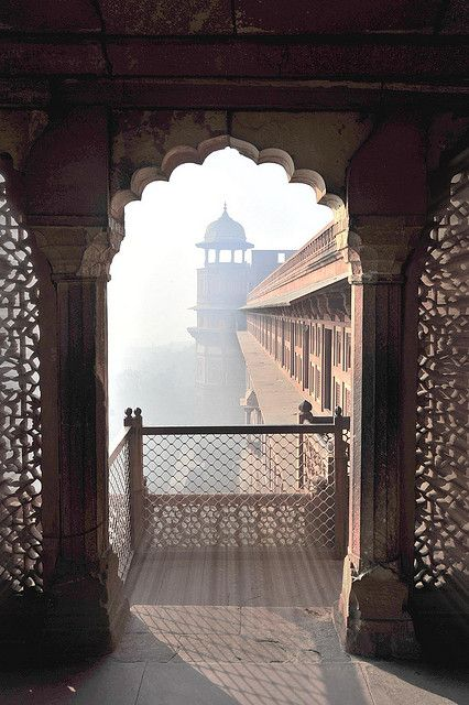 A view through a window in the Red Fort Complex, India