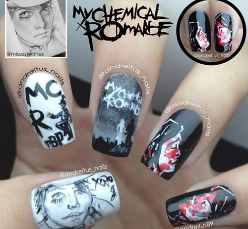 MCR NAIL ART! How the heck do people do these things!? I can't even paint my nails one colour!