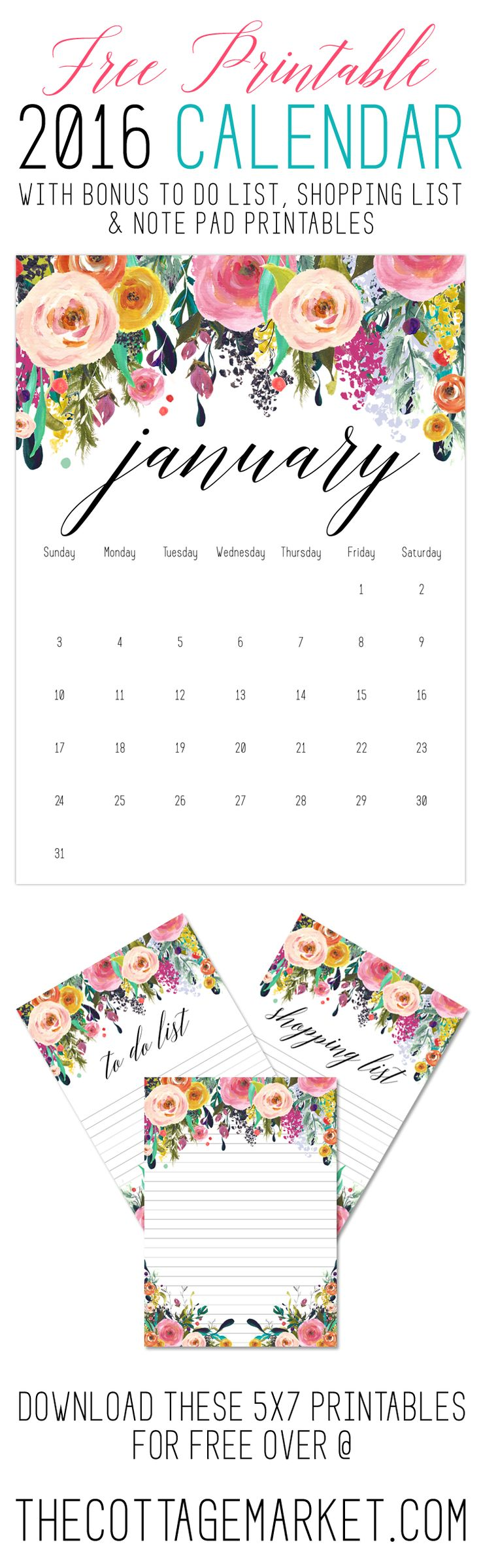 Free Printable 2016 Calendar /// with Bonus Free To Do List, Shopping List & Note Pad Printables - The Cottage Market
