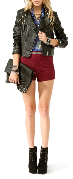 Rocker ChicOutfit Ideas, Ideas Forever, Fashio Dresses, Clothing, Forever21 Com, Leather Jackets, Red Shorts, Lace Shorts, Rocker Chic