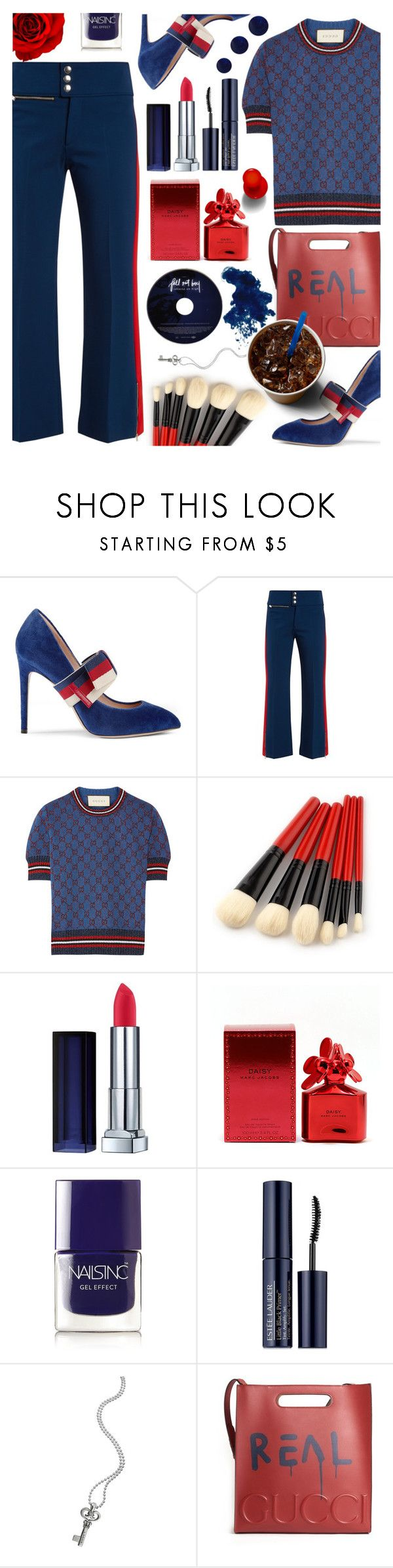 """""""Gucci"""" by tinkabella222 ❤ liked on Polyvore featuring Gucci, Marc Jacobs, Nails Inc., Estée Lauder, Lagos, RGB, trousers, highheels, gucci and ShadesofBlue"""