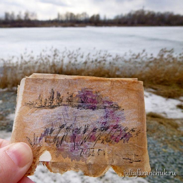 109/365 #365чай_фаранчук Еще рисунок на улице (брр) - #озеро во льду. Дома еще доводила до ума, потому что не только я, но и #линер застыл…