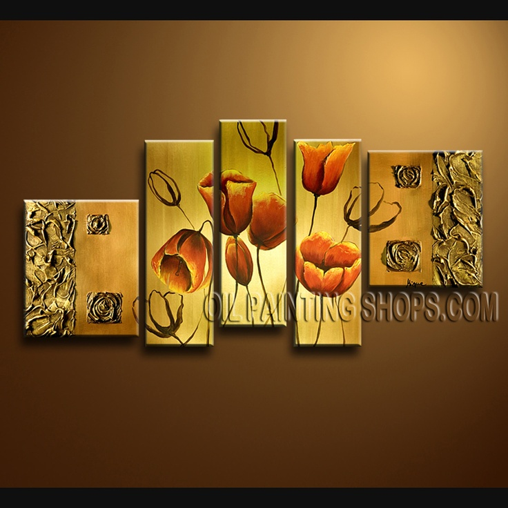 Beautiful Contemporary Wall Art Artist Oil Painting Stretched Ready To Hang Tulip Flower. This 5 panels canvas wall art is hand painted by Bo Yi Art Studio, instock - $175. To see more, visit OilPaintingShops.com