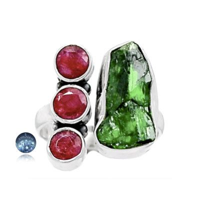 Sz 7, Genuine EMERALD Rough and INDIAN RUBY Faceted Gemstones, 925 Solid…