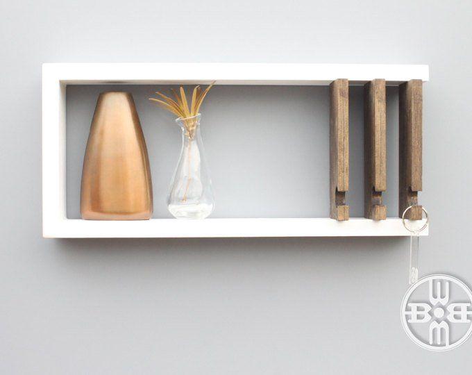 Wall Key Holder Modern Shelf Key Hanger Solid Wood Wood Shelf