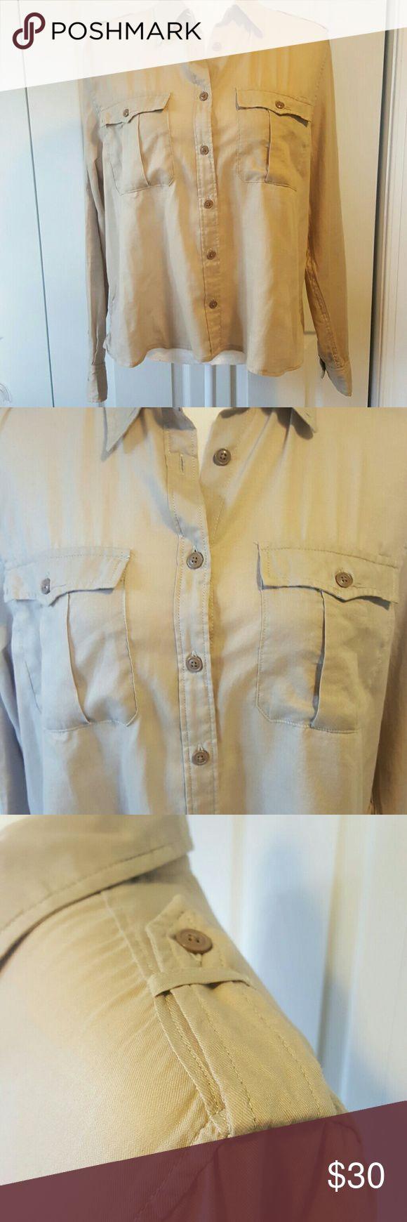 Ralph Lauren Denim Supply Tan Military Style Shirt Ralph Lauren Denim & Supply Tan Military Style Shirt, Size Large, 100%Cotton, lightweight, long sleeve, button down. Bundle 2 and save 20% Ralph Lauren Tops Button Down Shirts