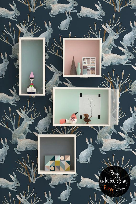 Winter Rabbits Wallpaper, Animal Wall Mural For Kids Rooms And Nurseries,  Dark Wall Decal, Reusable, Removable