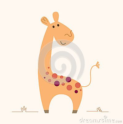 Cute colorful Giraffe -  cartoon Illustration