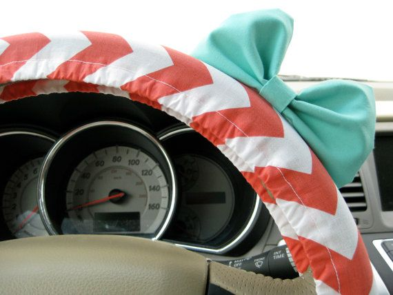 Coral Chevron Steering Wheel Cover with Matching by BeauFleurs, $25.00
