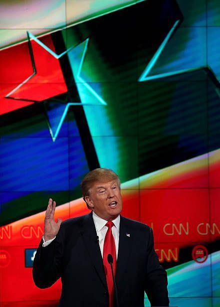 Republican presidential candidate Donald Trump speaks during the CNN republican presidential debate at The Venetian Las Vegas on December 15 2015 in...