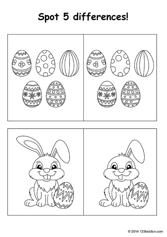 FREE Easter printables for kids. Spot the differences. Easter bunny, easter eggs…   – FREE Easter printables for kids