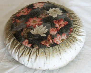 "Meditation Cushion Zafu - Limited Edition - """"Lotus Sanctuary"""" - Light Beige w/Gold Sqares"