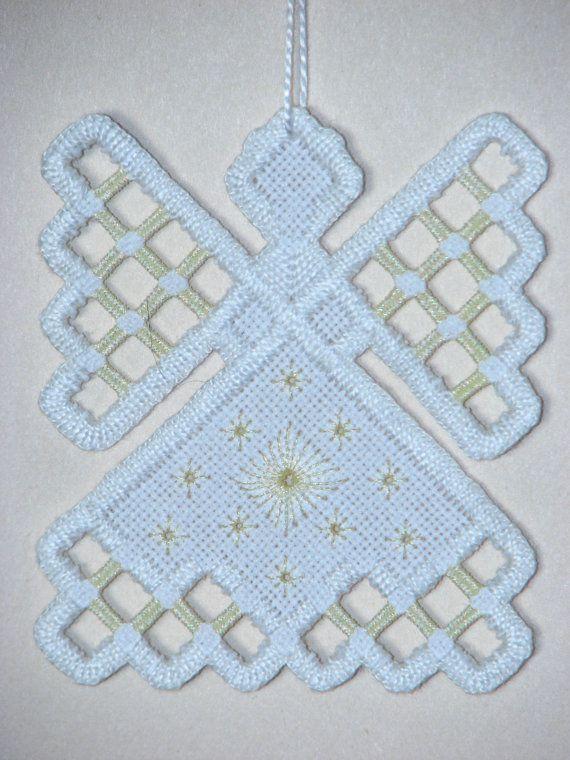 Hardanger Angel Ornament  Cream by twistedthreads on Etsy, $11.00