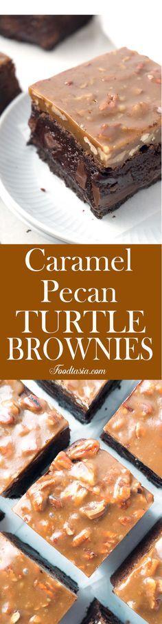 Triple-layer Fudgy Caramel Pecan Turtle Brownies