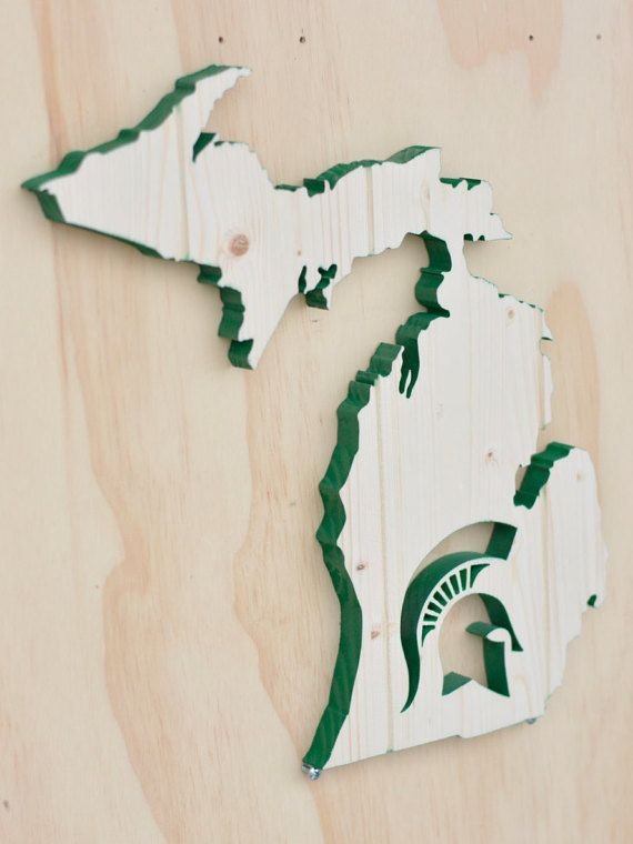 Michigan State Spartans State Wood Cutout by SkipToothCreations
