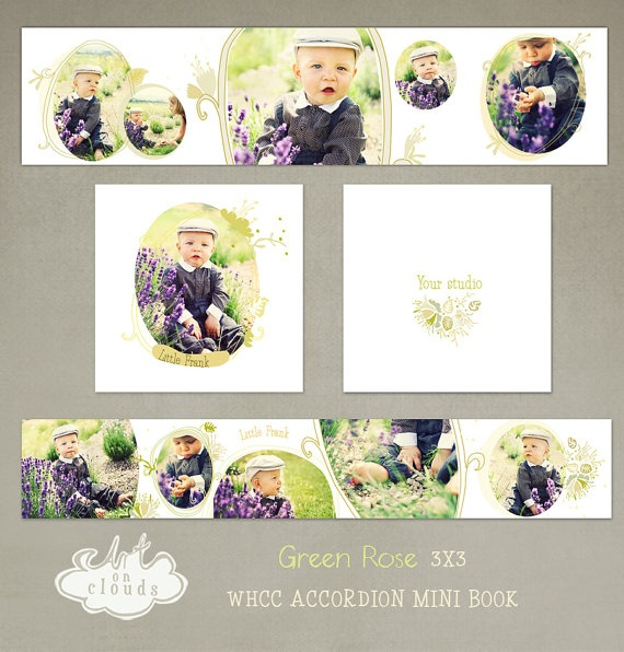 Green Rose 3x3 WHCC Accordion Album by ArtonClouds on Etsy, $10.00