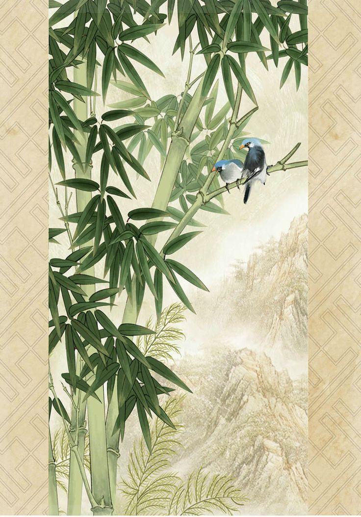 Diseño 3 d gran sala de estar del dormitorio sala de bambú corredor arce fondo de papel tapiz mural dibujo verde piso del baño