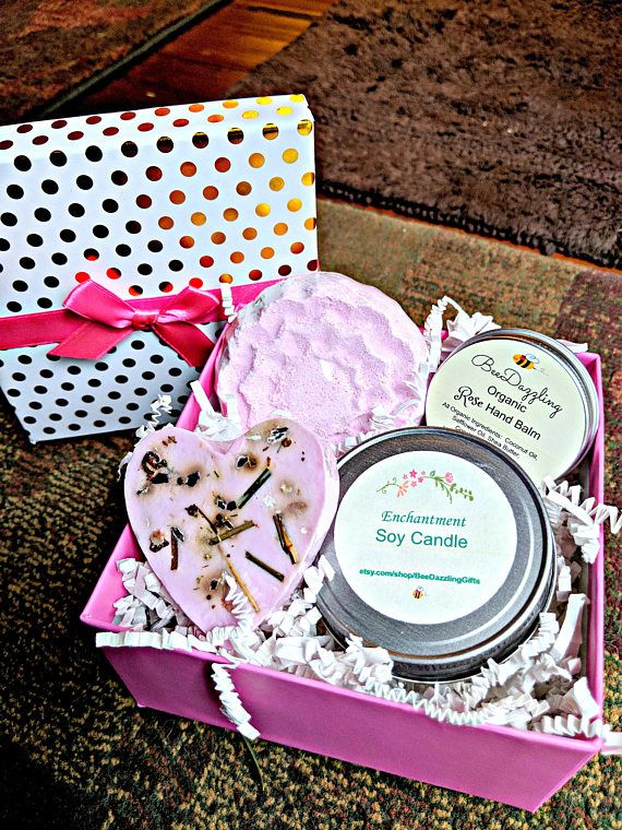 Valentine's Day Spa Gift Rose Spa Box Soy Candle Bath