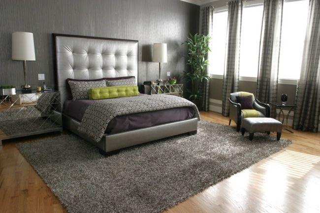 Schlafzimmer Tapeten Gr?n : schlafzimmer gesteppter bett kopfteil grau gr?n lila tapeten