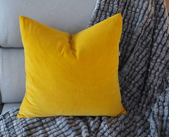 """Velveteen Pillow Cover . Plain Cushion Cover . Gold Pillow cover  . Gold Cushion Cover . 50x50cm (20"""" x20"""" ) . Plain Pillow cover"""