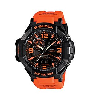 G-Shock Men's G-Aviation Ana-Digi Watch in Black with Orange Resin Band