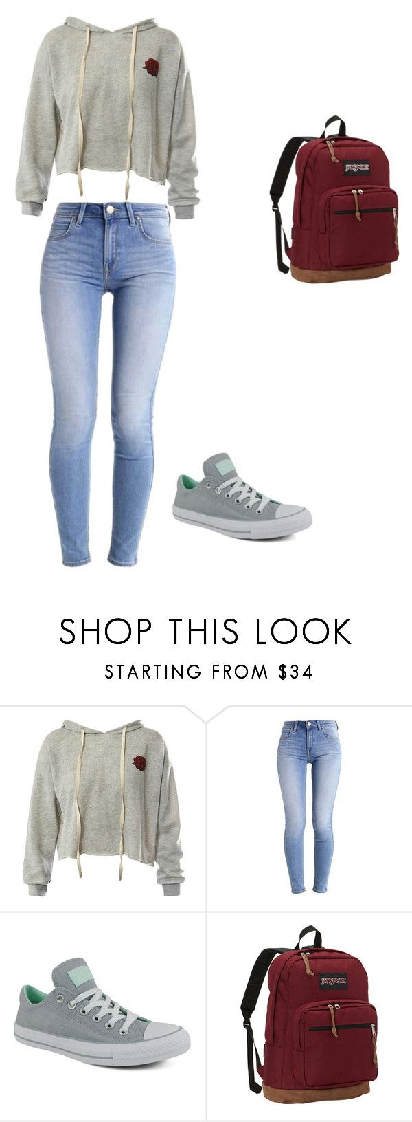 """School outfit #15"" by thisisnotjs on Polyvore featuring Sans Souci, Converse and JanSport"