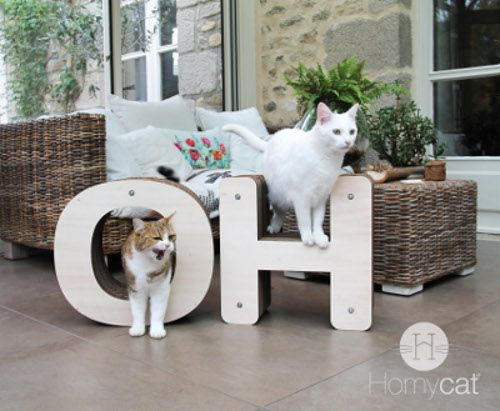 Montrer patte blanche, je ne pense qu'à chat clame Mathilde Blanche créatrice de meubles en forme de lettres aux initiales de votre chat.