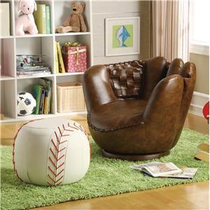Sport Themed Baseball Glove Chair & Baseball Ottoman - Belfort Furniture - Chair & Ottoman