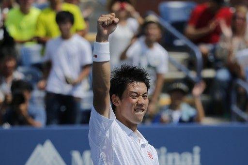 テニス、全米オープン(The US Open Tennis Championships 2014)男子シングルス1回戦。試合に勝利し喜ぶ錦織圭(Kei Nishikori、2014年8月26日撮影)。(c)AFP=時事/AFPBB News