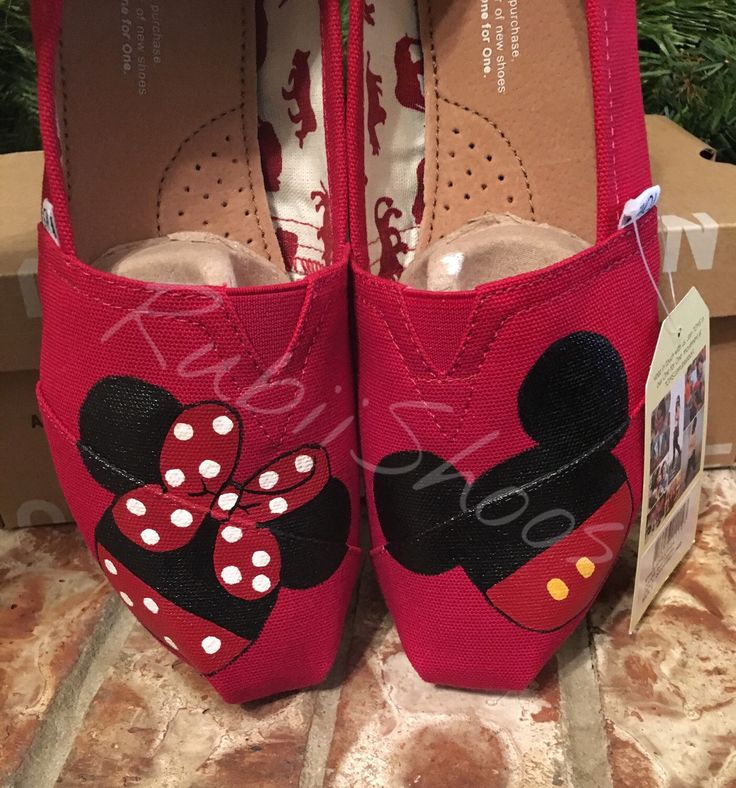 Women's Toms- Mickey And Minnie- Painted Toms- Red Toms- Mickey Head- Minnie Head- Customs Shoes- Disney Shoes- Disney Toms by RubiiShoos on Etsy https://www.etsy.com/listing/204425380/womens-toms-mickey-and-minnie-painted