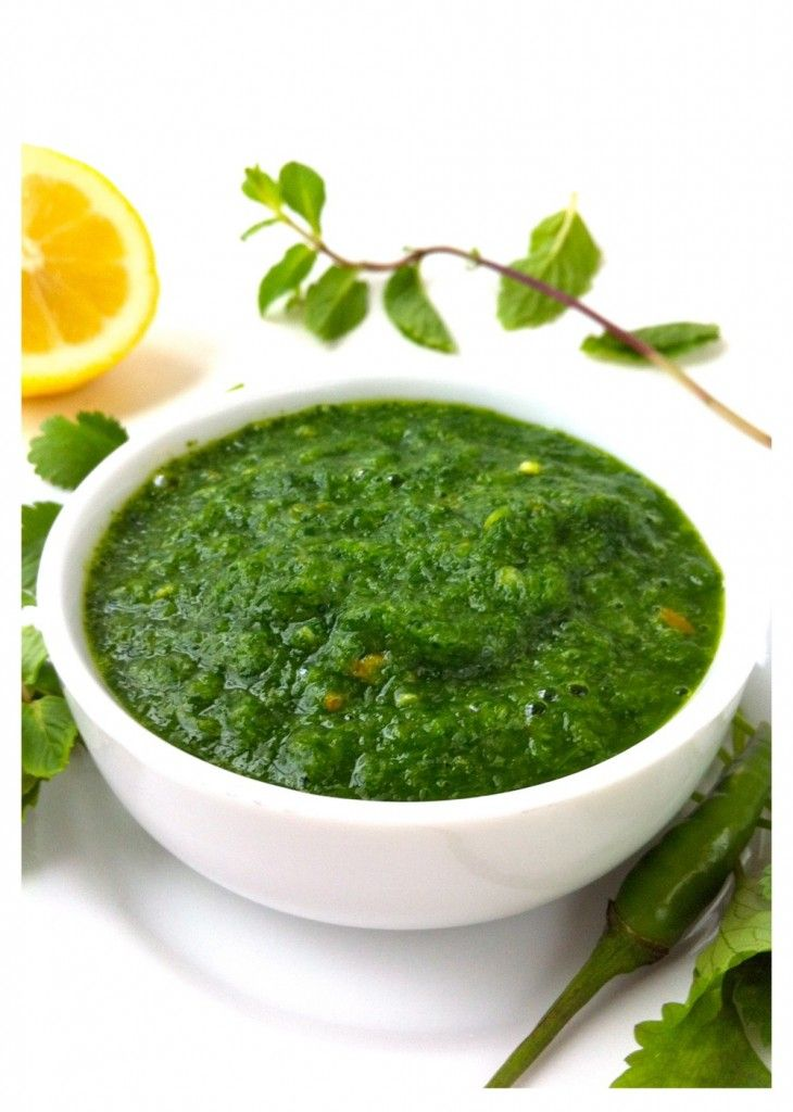 Chutney 2 cups / 2.5 oz / 80 g coriander (cilantro) leaves ½ cup / .3 oz / 9 g mint leaves 2-4 green chilies (according to how spicy you want it), stems removed ½ onion, roughly chopped 1 ½ tablespoons sugar ½ teaspoon salt Juice of 2 lemons 2 tablespoons water (as needed, see recipe)