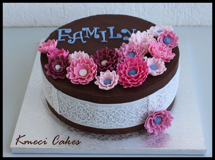 chocolate ganache flower cake for my family